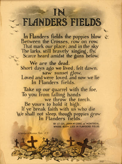 an analysis of john mccraes poem in flanders fields Get an answer for 'what is the theme of in flanders fields, a poem by john mccrae' and find homework help for other arts questions at enotes.